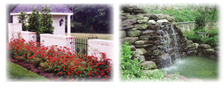 custom stonework wall,landscaping and waterfall feature