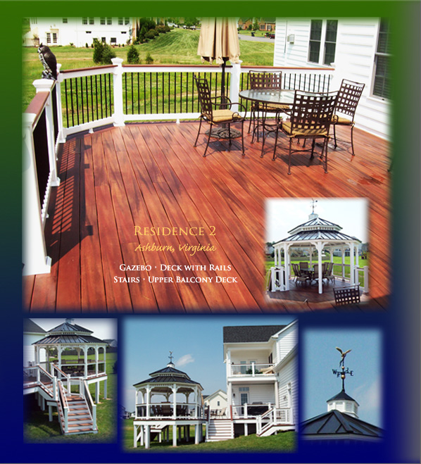Ashburn, Virginia residence has gazebo, deck with rails, stairs, and upper balcony deck