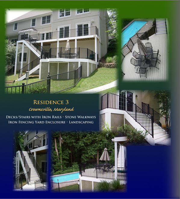 Crownsville, Maryland residence has decks/stairs with iron rails, stone walkways, iron fencing yard enclosure and landscaping